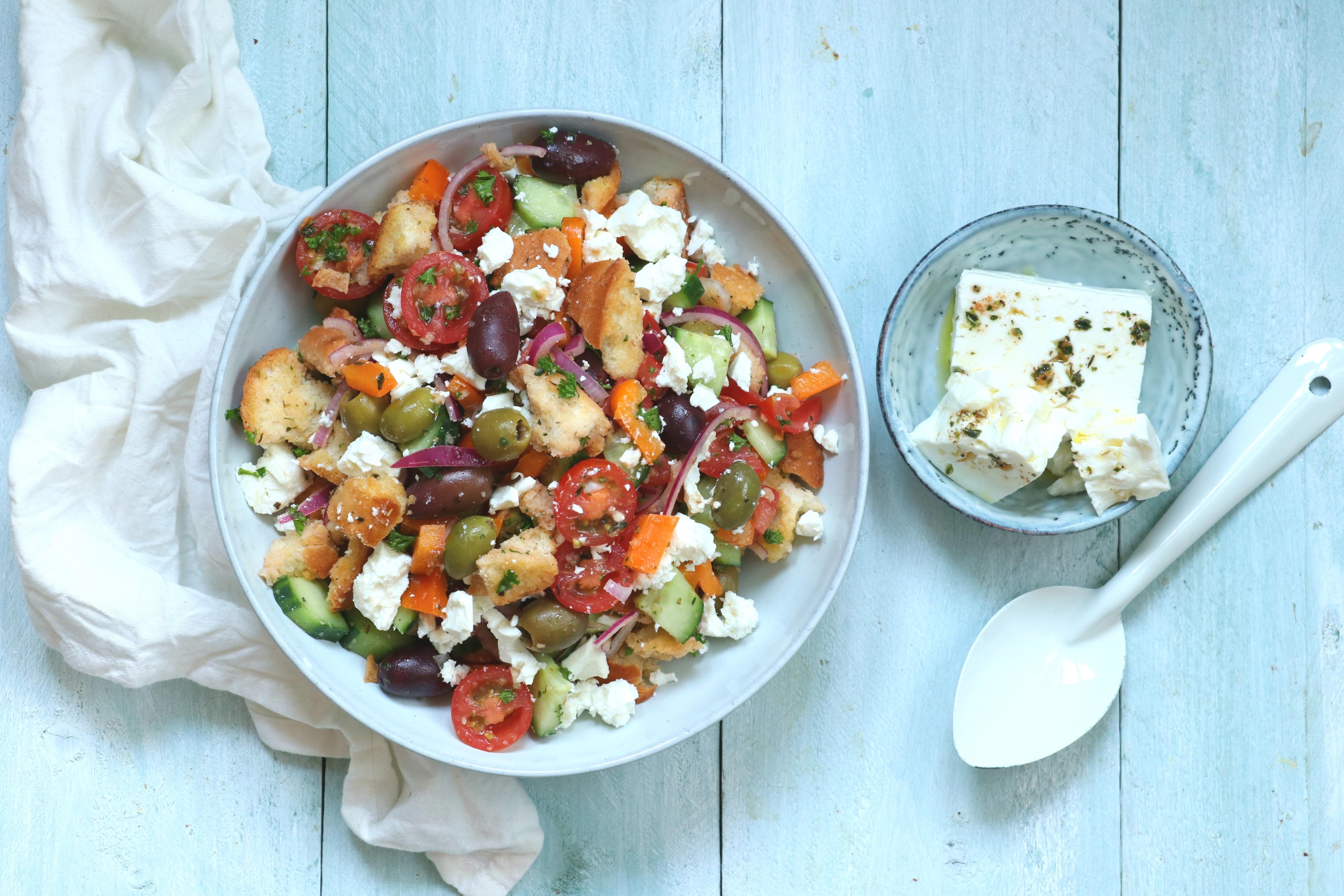 Griekse panzanella salade recept www.jaimyskitchen.nl