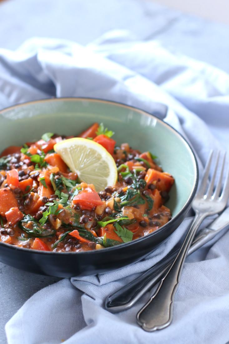 Vegetarische linzen curry www.jaimyskitchen.nl