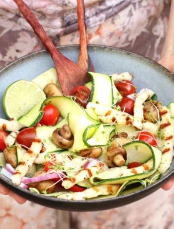 salade gegrilde haloumi met courgette www.jaimyskitchen.nl