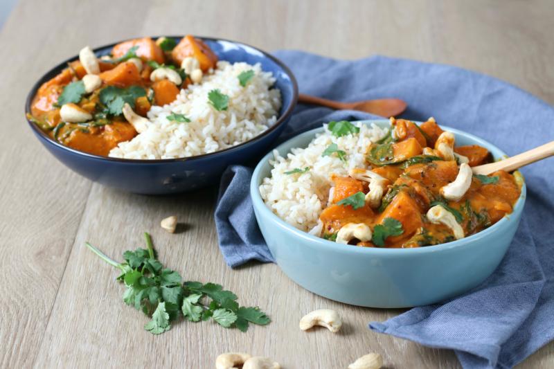 Recept pompoen curry met spinazie www.jaimyskitchen.nl