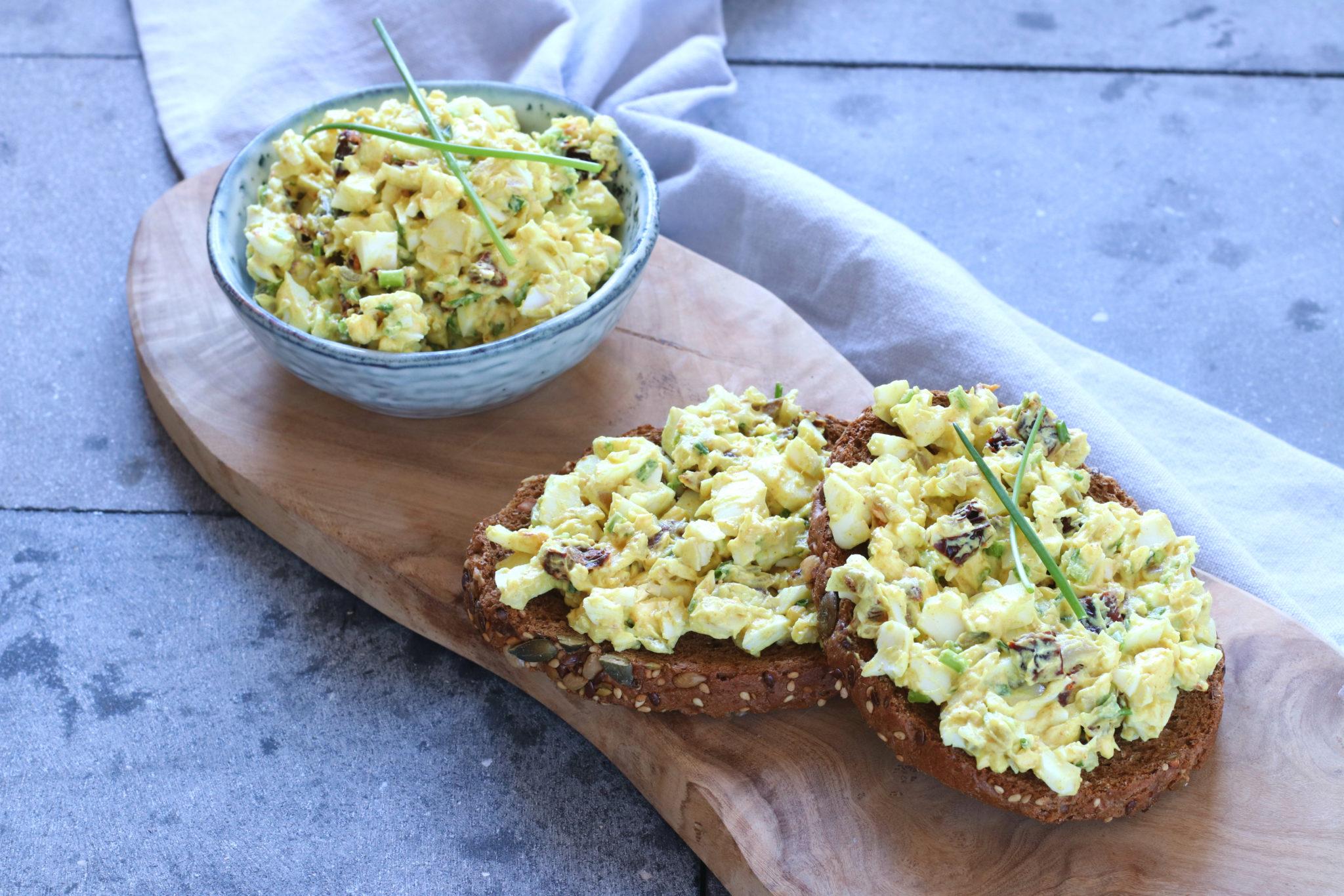 Recept eiersalade met zongedroogde tomaat www.jaimyskitchen.nl