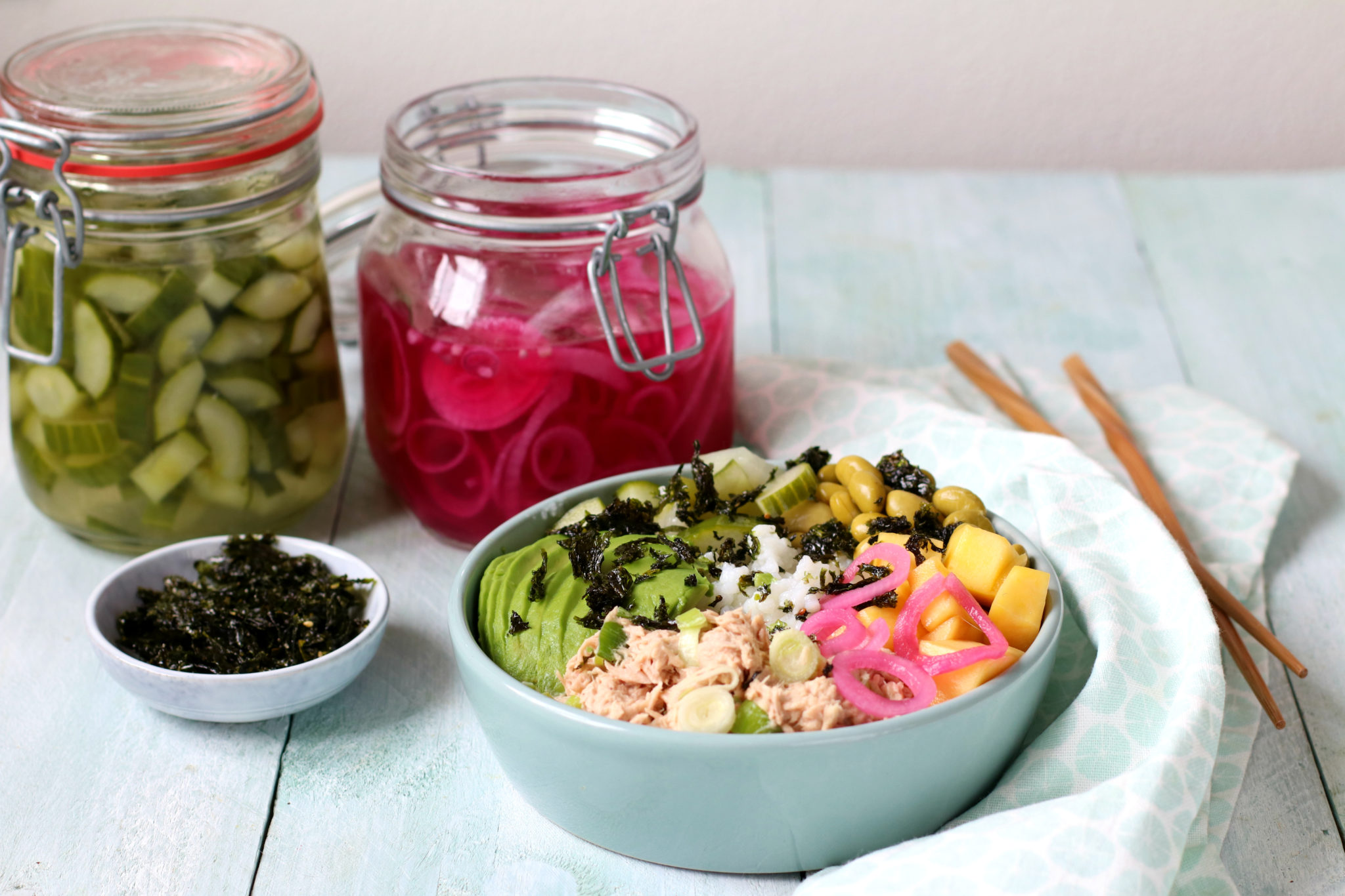 Recept pittige tonijn sushibowl www.jaimyskitchen.nl