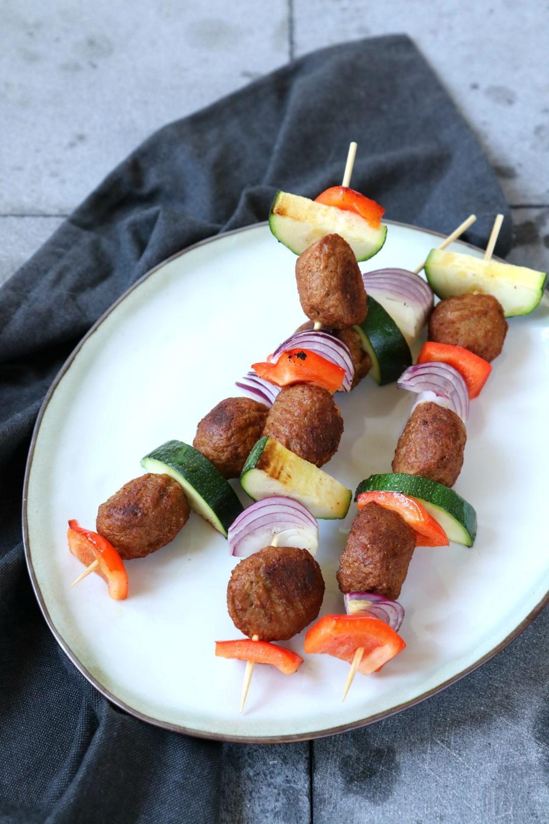 Recept vegetarische balletjes barbecue spies www.jaimyskitchen.nl