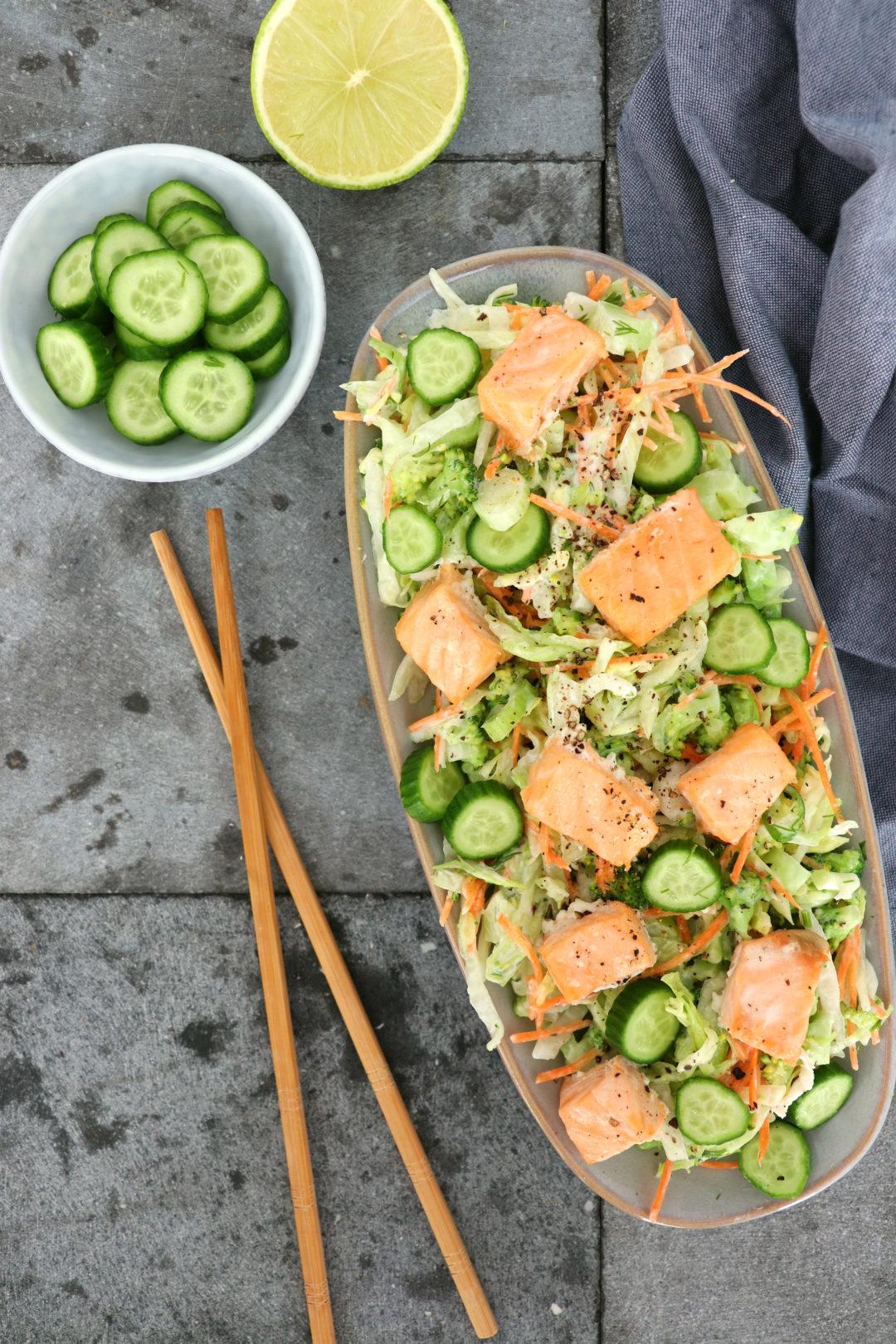 Salade met zalm recept www.jaimyskitchen.nl