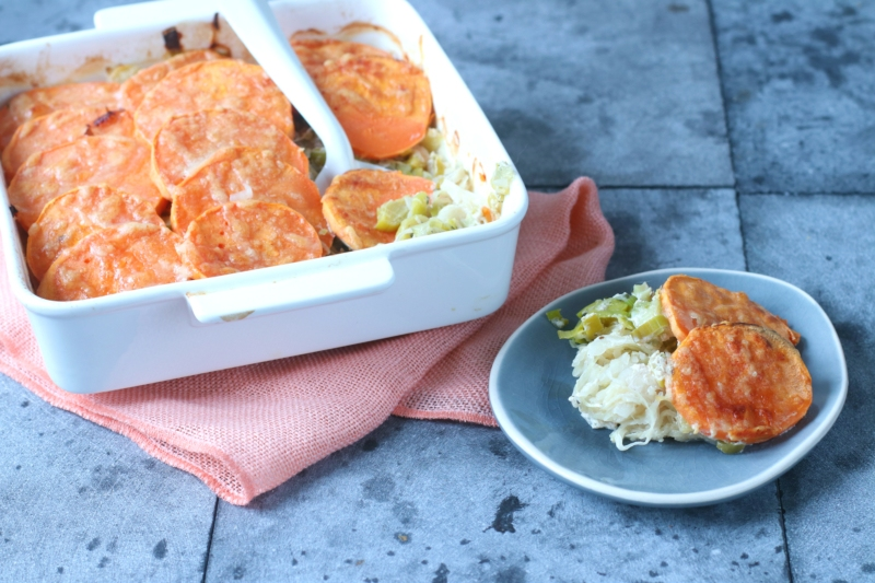 Zuurkool en zoete aardappel ovenschotel recept www.jaimyskitchen.nl
