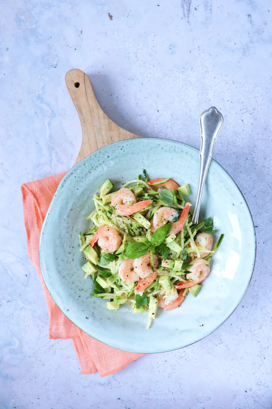 recept romige courgette pasta met garnalen www.jaimyskitchen.nl