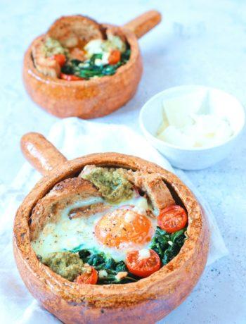 Ei bakjes uit de oven met spinazie www.jaimyskitchen.nl