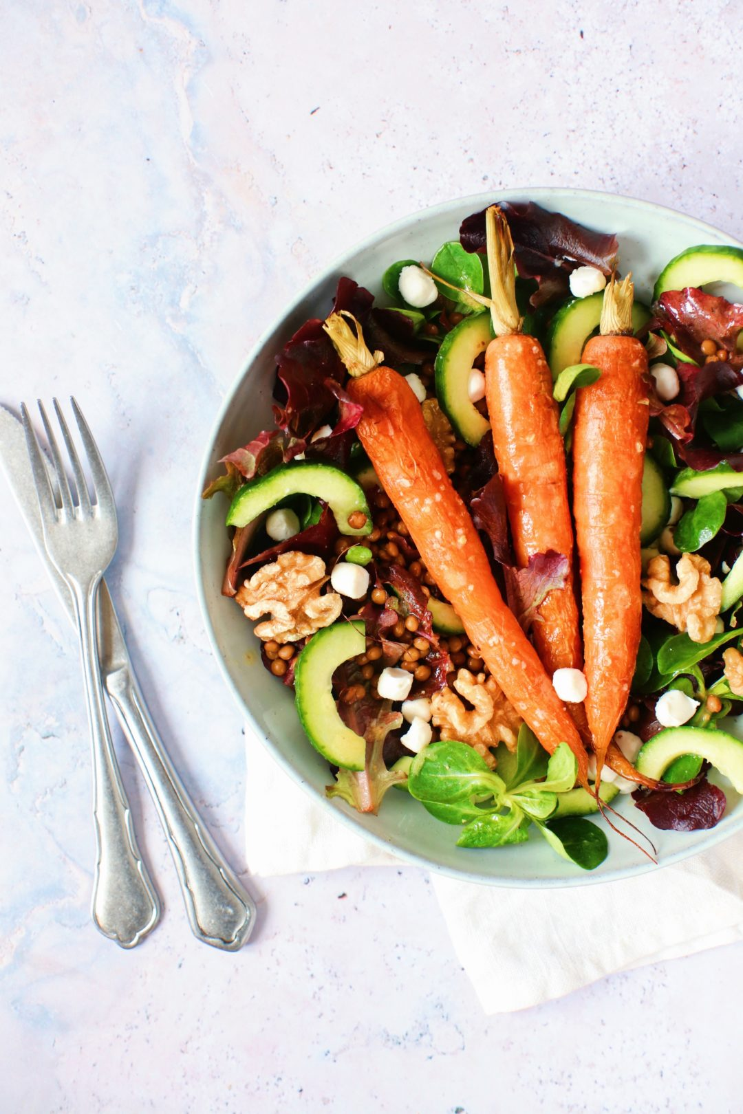 Recept salade linzen en geroosterde wortel www.jaimyskitchen.nl