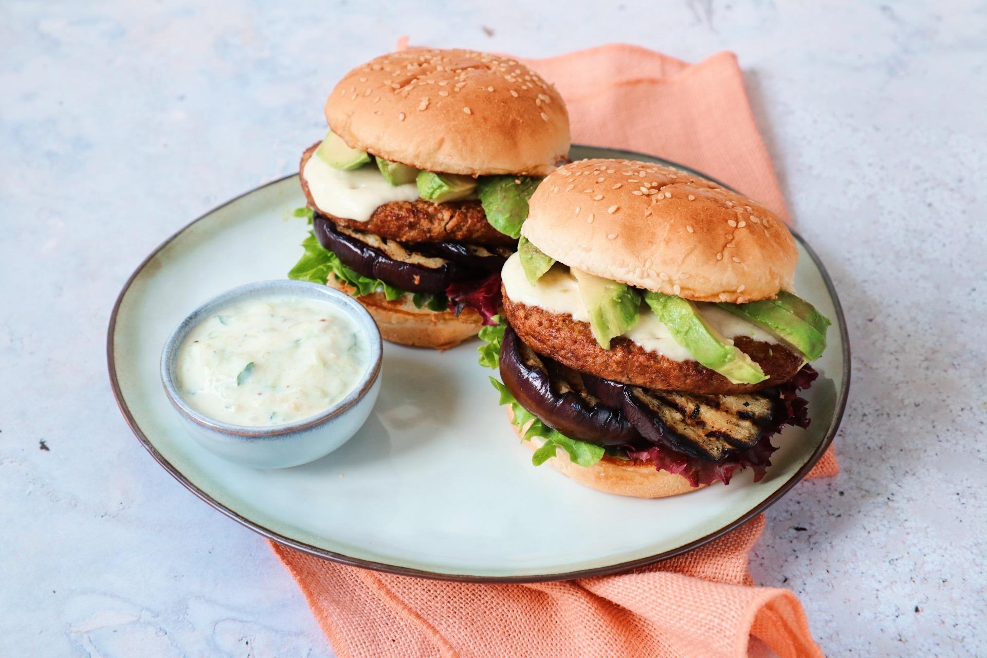 Recept bbq vegetarische burger met aubergine www.jaimyskitchen.nl