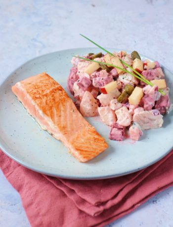 Recept aardappel en biet salade met zalm www.jaimyskitchen.nl