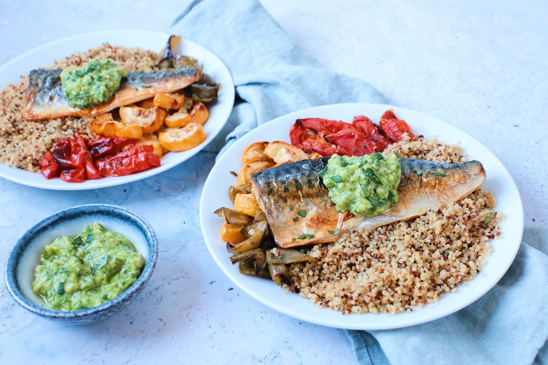 Quinoa met vis en gegrilde groenten www.jaimyskitchen.nl