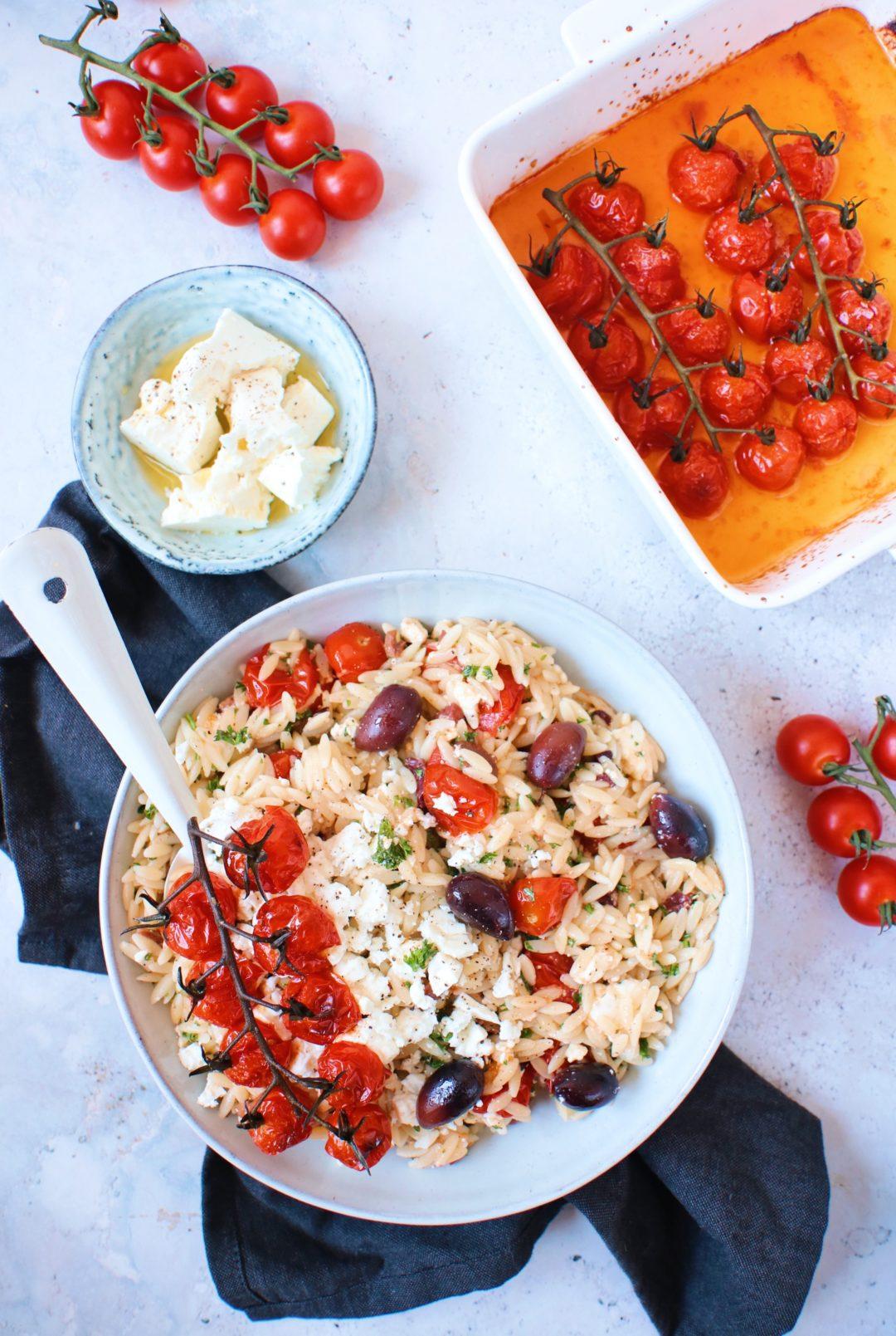 Recept Griekse orzo salade met honing tomaatjes www.jaimyskitchen.nl