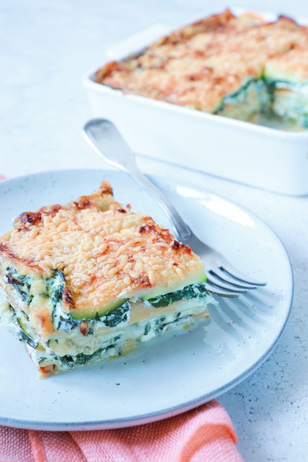 Courgette lasagne met spinazie en ricotta www.jaimyskitchen.nl