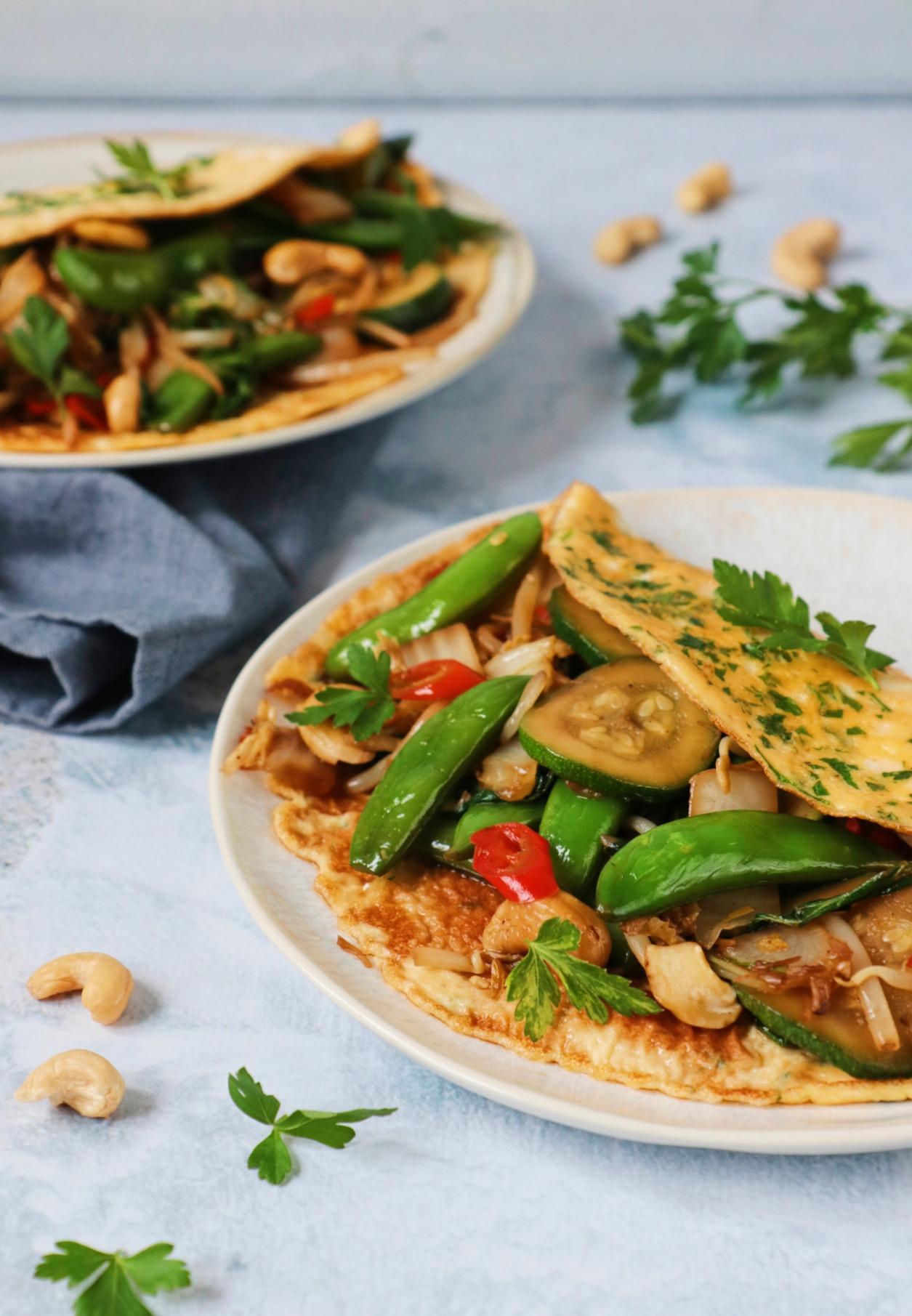 Omelet wrap met Thaise groenten www.jaimyskitchen.nl
