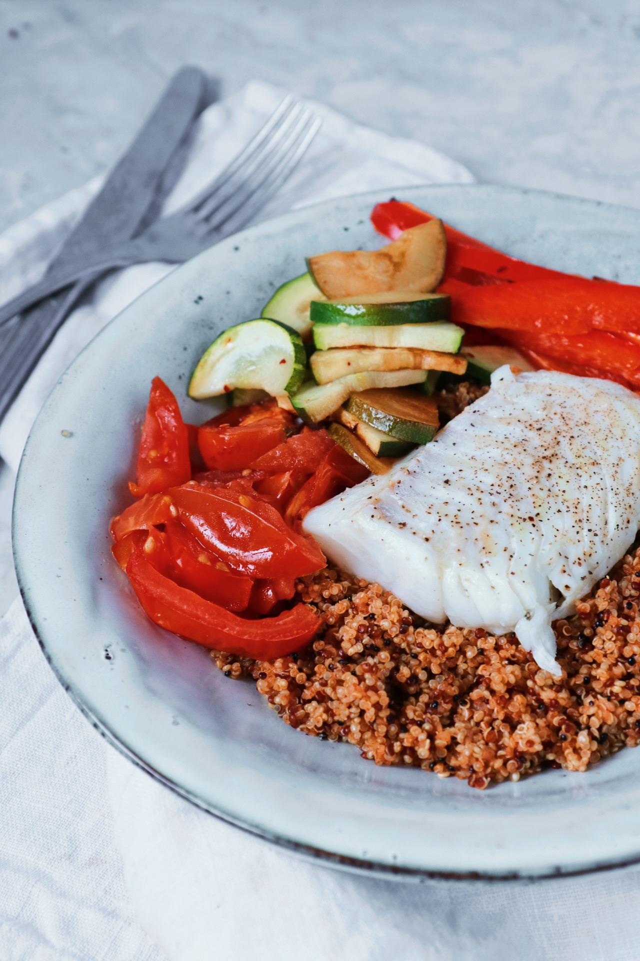 Quinoa met kabeljauw en gegrilde groenten www.jaimyskitchen.nl