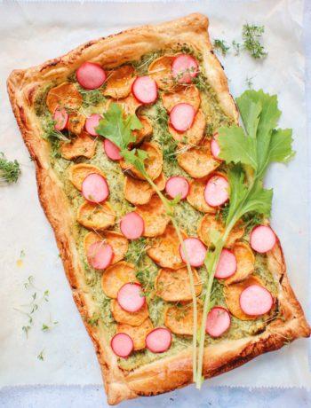 Plaattaart met raapstelen en zoete aardappel www.jaimyskitchen.nl