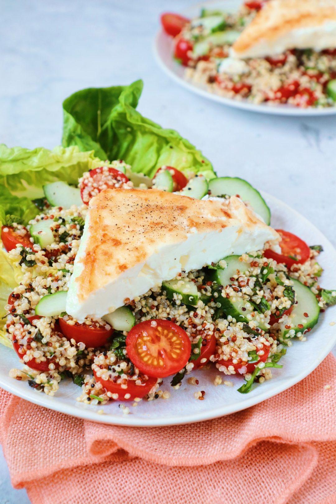 Quinoa salade met gebakken feta www.jaimyskitchen.nl