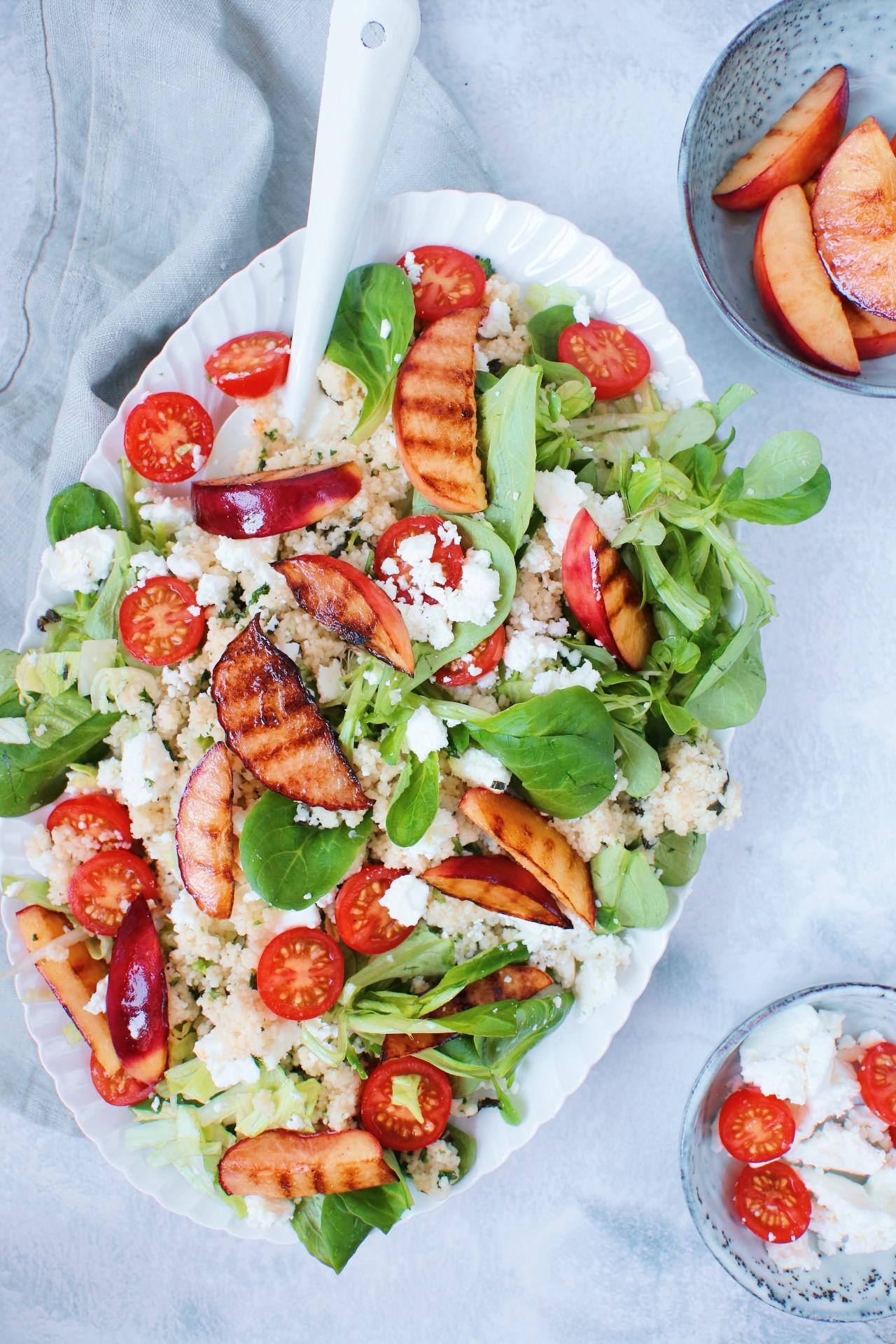 Salade couscous nectarine feta www.jaimyskitchen.nl