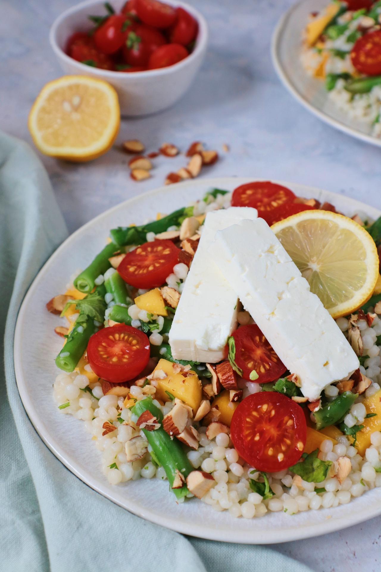 Parel couscous met mango en feta www.jaimyskitchen.nl