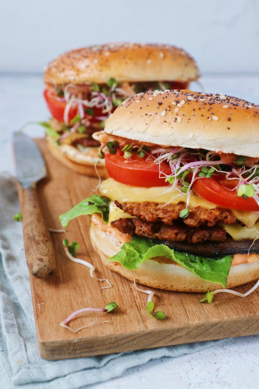 Plantaardige smash burger www.jaimyskitchen.nl